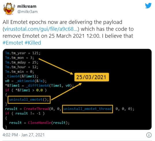 milkream's tweet detailing the BKA's addition to Emotet's code. #Emotet does indeed appear to be #Killed.