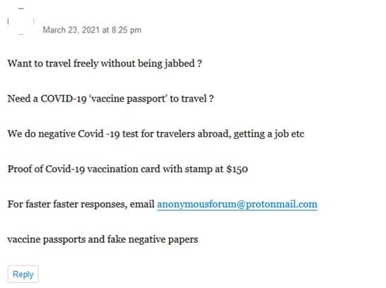 """Figure 7. Forum user advertises """"Proof of Covid-19 vaccination card"""""""
