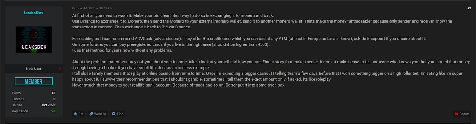 Cybercriminal forum users discuss the Bitcoin cleaning methodologies