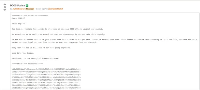 Figure 2. Message on Dread alleging Empire was experiencing an ongoing DDoS attack before its demise