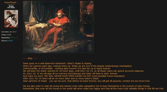 Figure 4. Announcement of Joker's Stash's impending closure