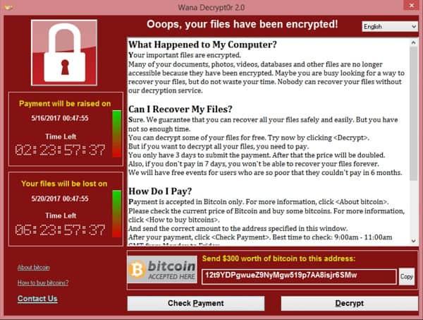 Screenshot of a $300 USD WannaCry request