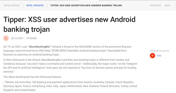 SearchLight Intelligence Tipper on a new Android Banking Trojan