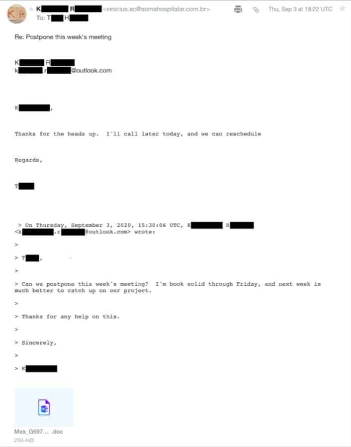 A hijacked email sent from the Emotet botnet (source: Palo Alto Networks)