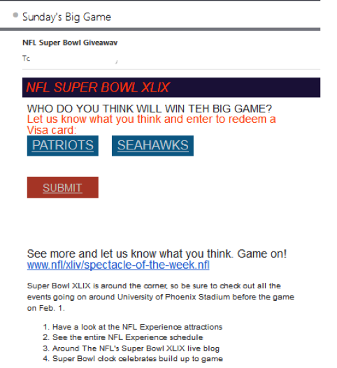Superbowl Phishing