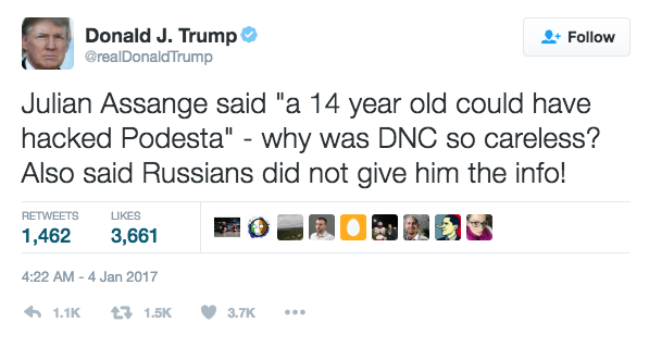 Trump Podesta Assange Tweet
